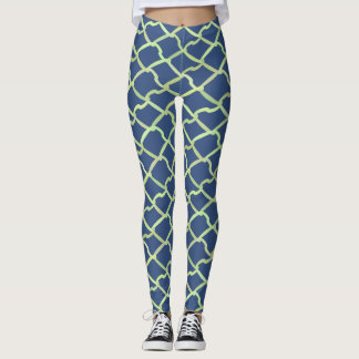 Blue and White Chain Link Fence Leggings