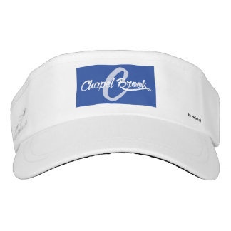 blue and white chapel brook logo on white visor