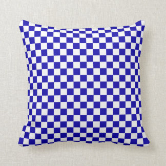 Blue and White Checkered Pillow for Boys Room