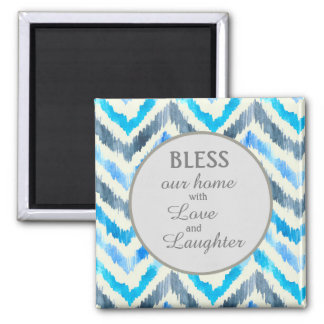 Blue and White Chevron Bless Our Home Magnet