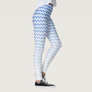 Blue and White Chevron Leggings
