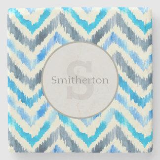 Blue and White Chevron Monogram Stone Stone Coaster