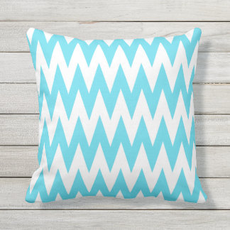 Blue and White Chevron Outdoor Throw Pillow