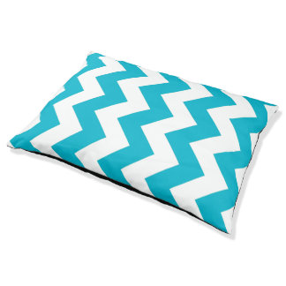 Blue And White Chevron Pattern Dog Bed