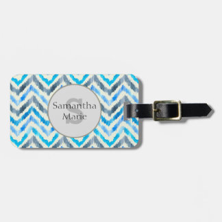 Blue and White Chevron Personalized Luggage Tag