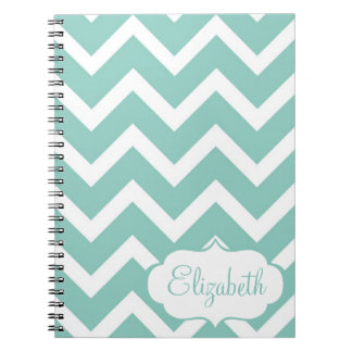 Blue and White Chevron Personalized Notebook