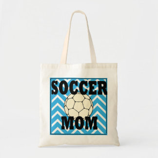 Blue and White Chevron Soccer Mom Tote Bag