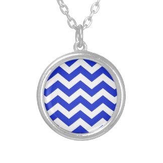 Blue And White Chevron Stripes Round Pendant Necklace
