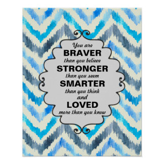 Blue and White Chevron Words of  Encouragement Poster