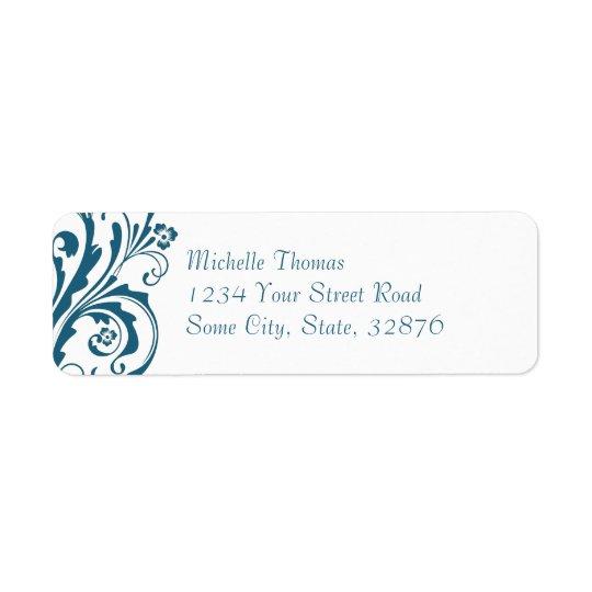 Blue and White Chic Floral Return Address Return Address Label