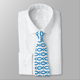 Blue and White Christian Fish Symbol  Necktie