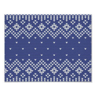 Blue and White Christmas Abstract Knitted Pattern Photograph