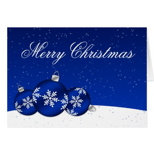 Blue and White Christmas Snowflake Ornaments Card