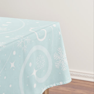Blue and White Christmas Snowflakes Design Tablecloth