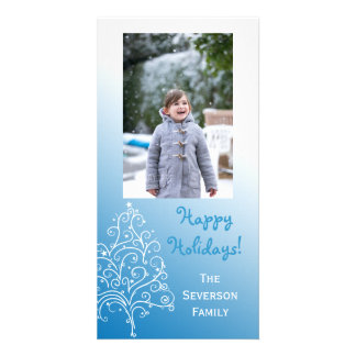 Blue and White Christmas Tree Happy Holidays Card