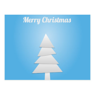 Blue and White Christmas Tree Postcard