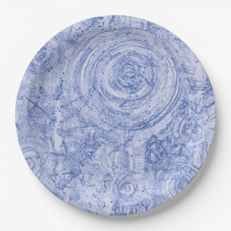 Blue and White Circles Paper Plate