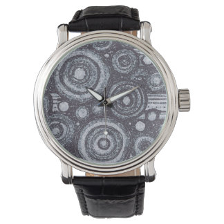 Blue and White Circles Watch