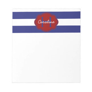 Blue and White Classic Horizontal Stripe Notepad