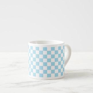 Blue And White Classic Retro Checkered Pattern Espresso Cup