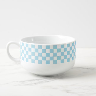Blue And White Classic Retro Checkered Pattern Soup Bowl With Handle