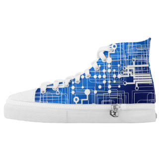 Blue and White Computer Chip Diagram High Tops