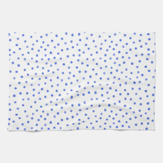 Blue and White Confetti Dots Pattern Tea Towel