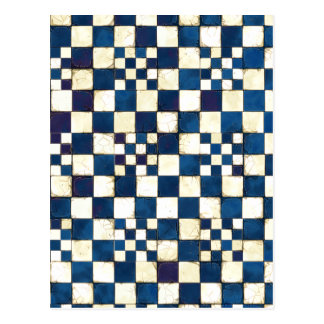 Blue and White Cracked Tile Texture Background Postcard