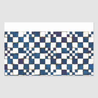 Blue and White Cracked Tile Texture Background Rectangular Sticker
