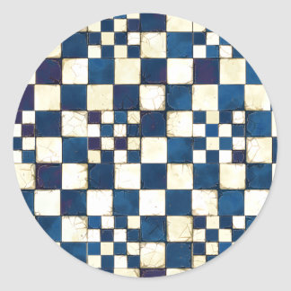 Blue and White Cracked Tile Texture Background Round Sticker
