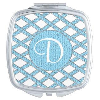 Blue and white crisscross monogram compact mirror