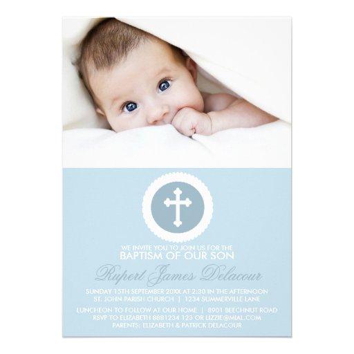 Blue and White Cross Baptism Photo Invitation