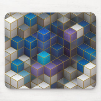 Blue and White Cubes 3D Perspective Mousepad