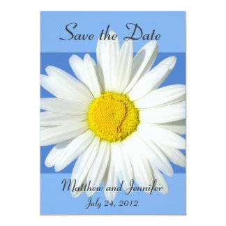 Blue and White Daisy Save the Date Announcement Invite