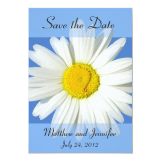 Blue and White Daisy Save the Date Announcement Personalized Invite