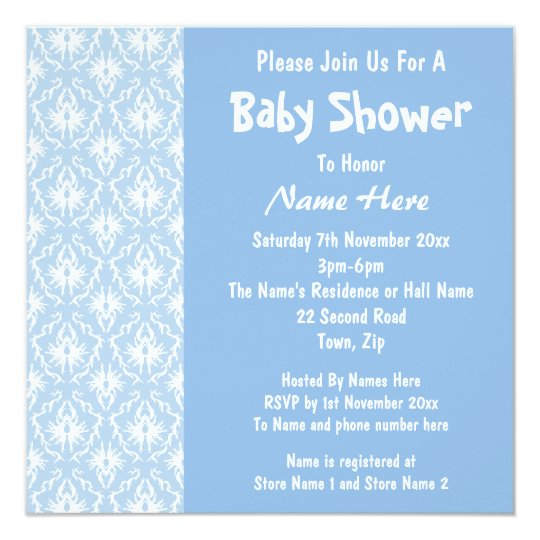 Blue and White Damask Pattern, Custom Baby Shower Card