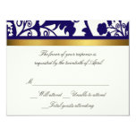 Blue and white damask RSVP Card Personalised Invitation