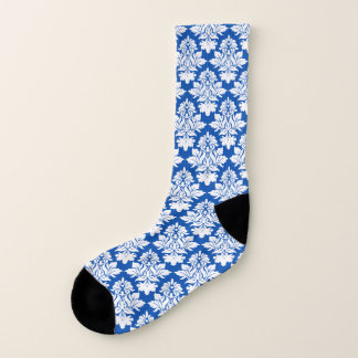 Blue and White Damask Socks 1