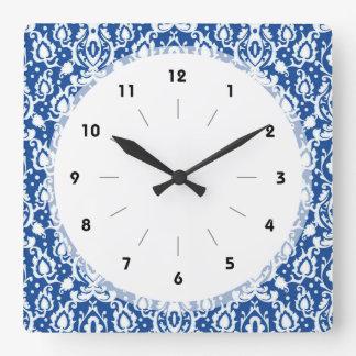 Blue and White Damask Wall Clock
