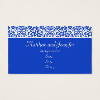 Blue and White Damask Wedding Gift Registry Cards