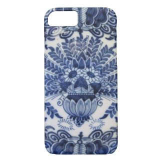 Blue and White Delft Dutch Peacock Flowers iPhone 8/7 Case
