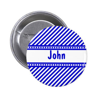 Blue and White Diagonal Stripes Buttons