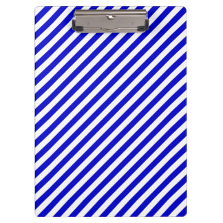 Blue and White Diagonal Stripes Clipboards