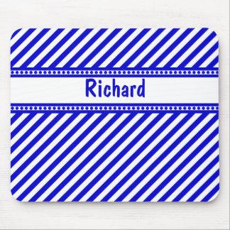 Blue and White Diagonal Stripes Mousepad