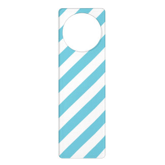 Blue and White Diagonal Stripes Pattern Door Hanger