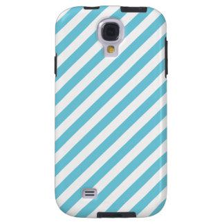 Blue and White Diagonal Stripes Pattern Galaxy S4 Case