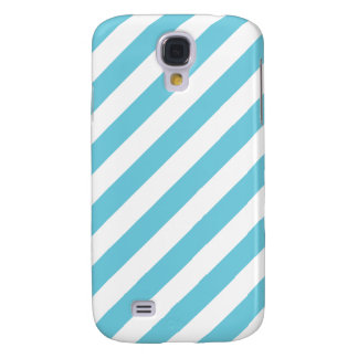 Blue and White Diagonal Stripes Pattern Galaxy S4 Covers