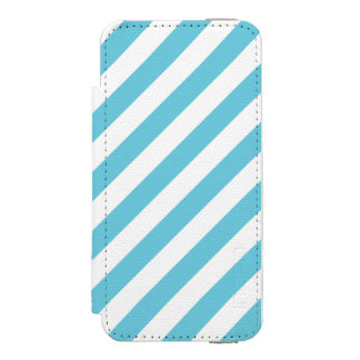 Blue and White Diagonal Stripes Pattern Incipio Watson™ iPhone 5 Wallet Case