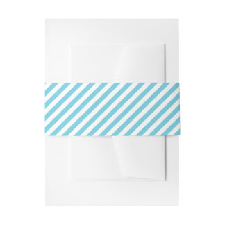 Blue and White Diagonal Stripes Pattern Invitation Belly Band