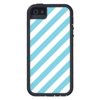 Blue and White Diagonal Stripes Pattern iPhone 5 Cases